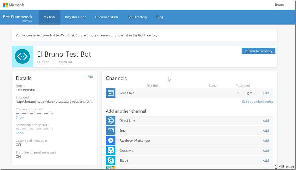 Bots – (III) Connect to bots channels, #Skype, #Facebook