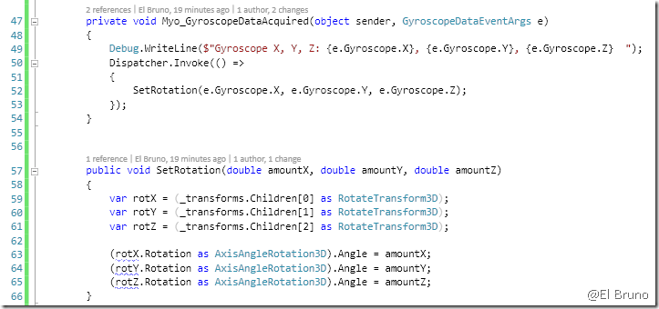Myo – Working with the Orientation and Gyroscope in c# – El