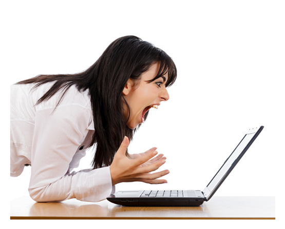 female screaming to her computer
