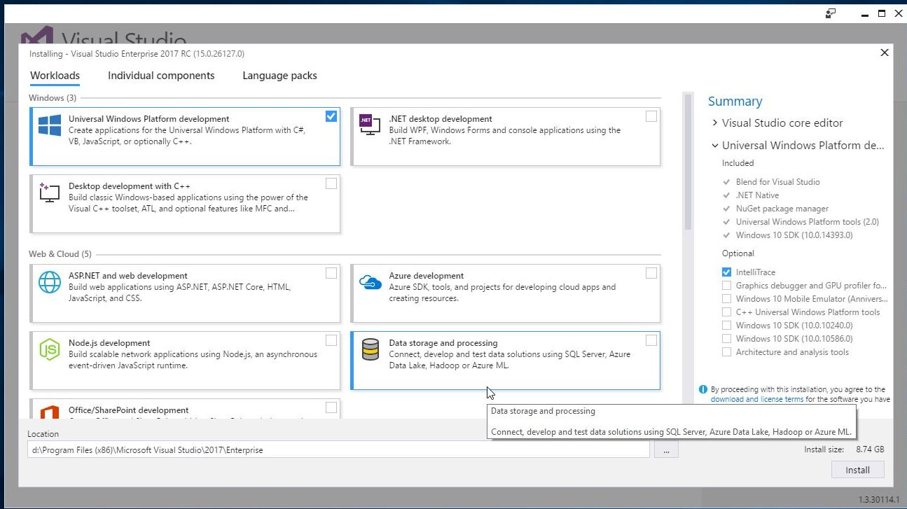 VS2017 – How to select the components to install in each WorkLoad