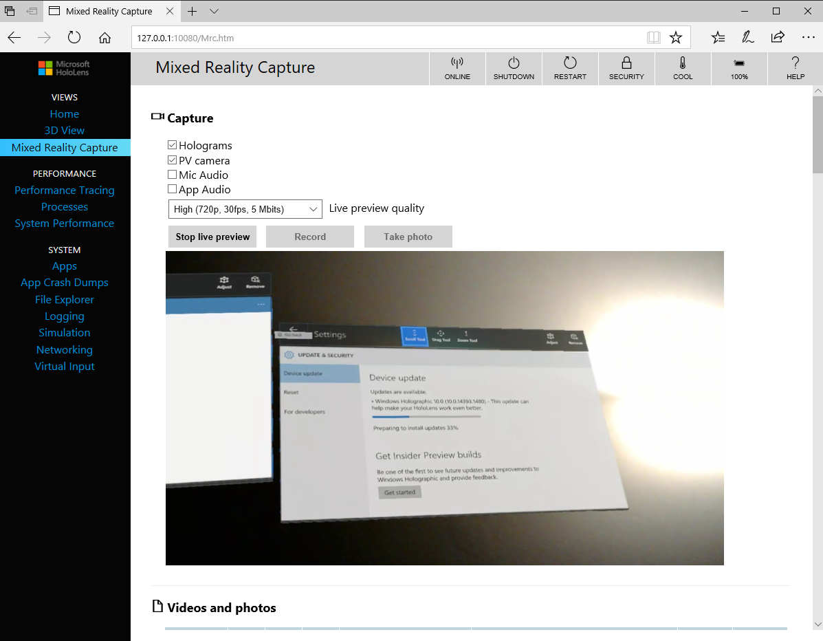 Hololens – How to use the Developer Portal when the device is