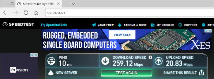 speed test Edge no vpn