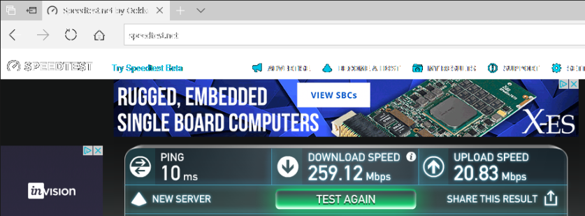 speed test Edge no vpn