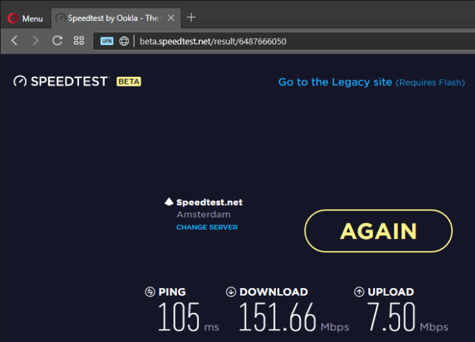 speed test opera vpn