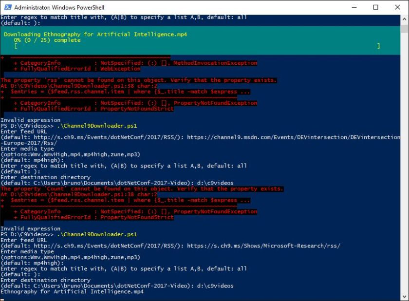 PowerShell – Script to download #Channel9 videos (thanks