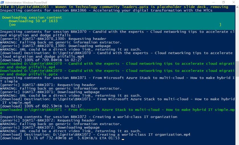 PowerShell – Download all MS Ignite videos and slides in a single