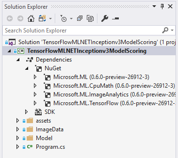 04 mlnet 0.60 preview solution explorer build OK