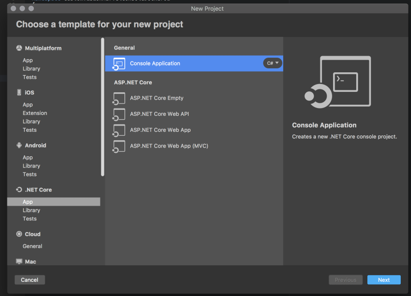 06 new netcore project in visual studio for mac