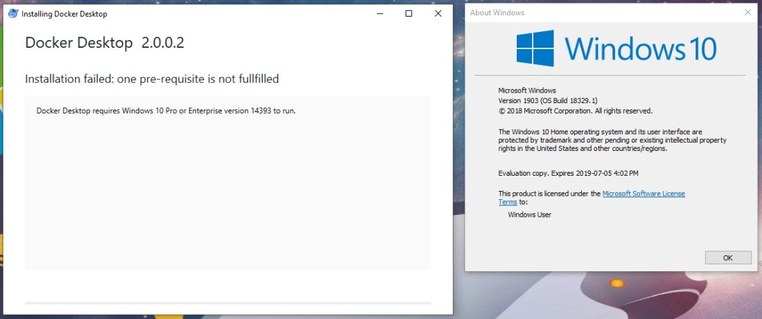 cant install docker 2.0.0.2 on win10 1903 18329