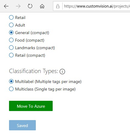 Custom Vision move to Azure button