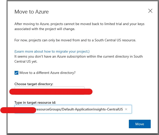Custom Vision move to Azure only in South Central