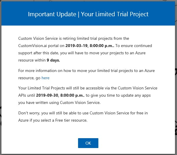 Custom Vision moved to Azure