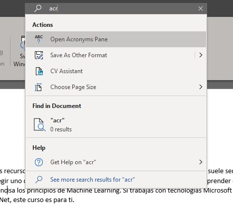 Search for Acronyms Pane in Word