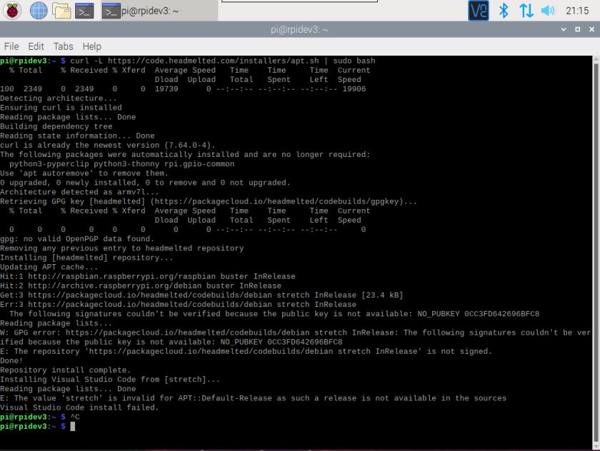 python error installing visual studio code in raspberry pi