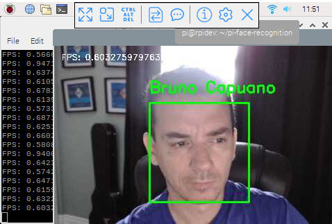 python face recognition in raspberry py 3 with FPS live