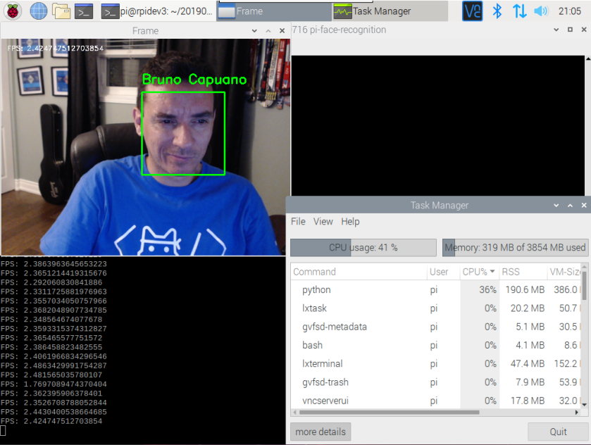 python face recognition in raspberry py 4 with FPS live