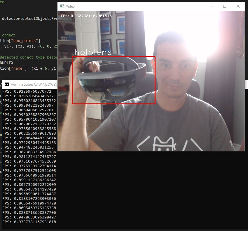 python using imageai to detect hololens less than 1 fps