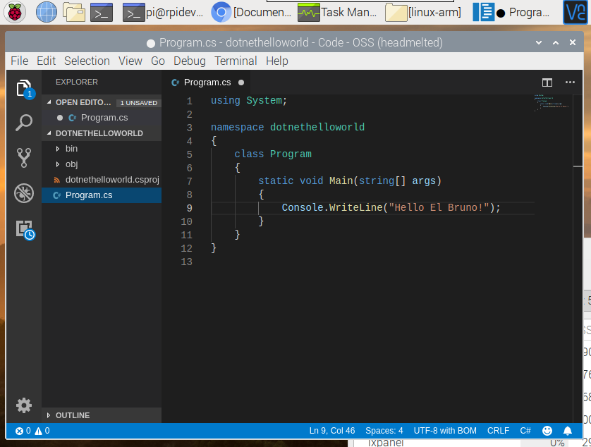 raspberry pi 4 .net core 2.2 console app edit in Visual Studio Code