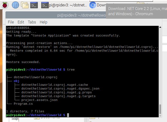 raspberry pi 4 .net core 2.2 create new console app