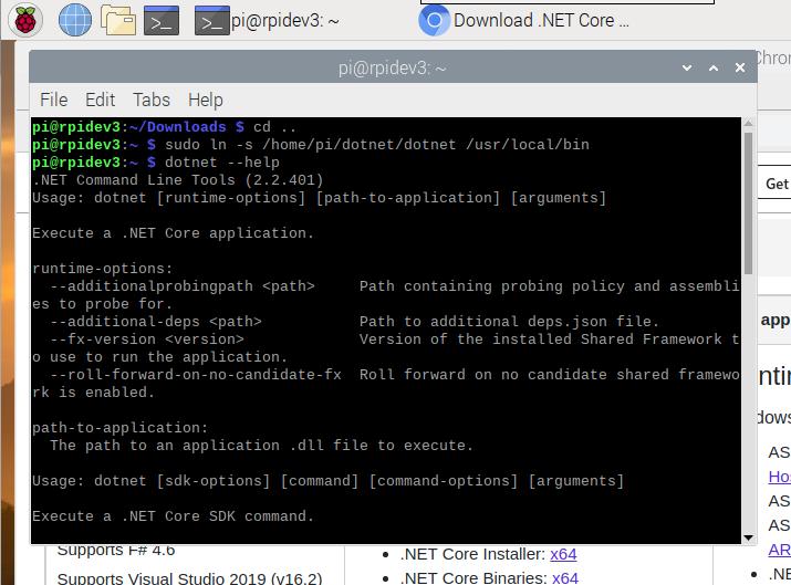 raspberry pi 4 .net core 2.2 installed and test dotnet help