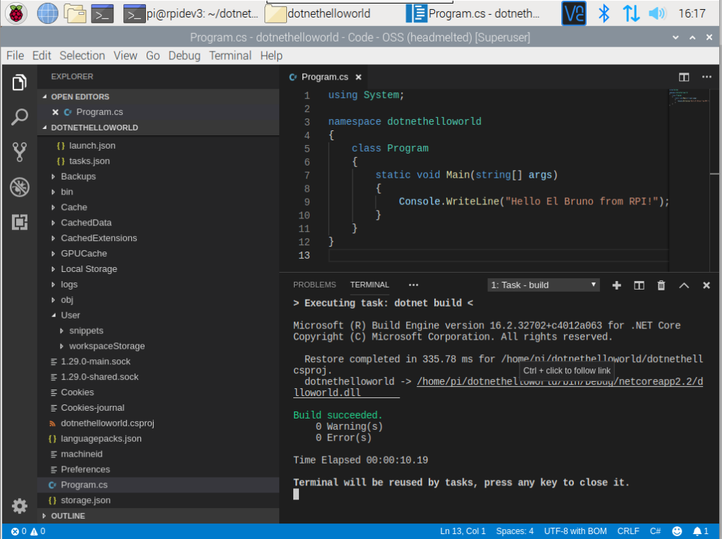 raspberry pi 4 visual studio code build code