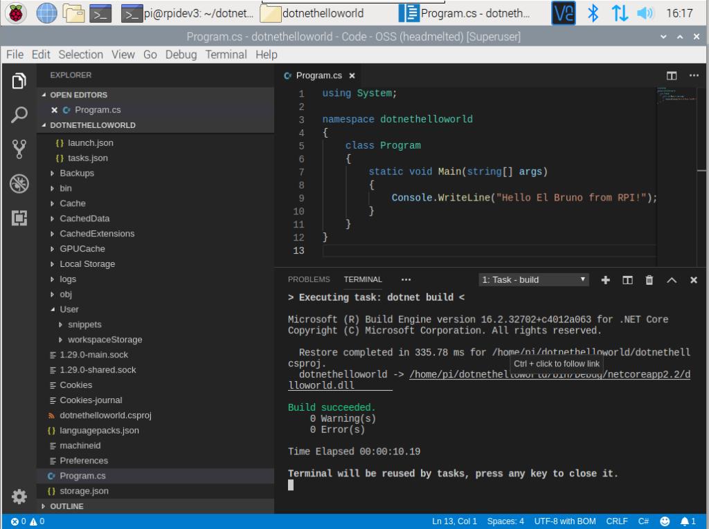 raspberry pi 4 visual studio code build code