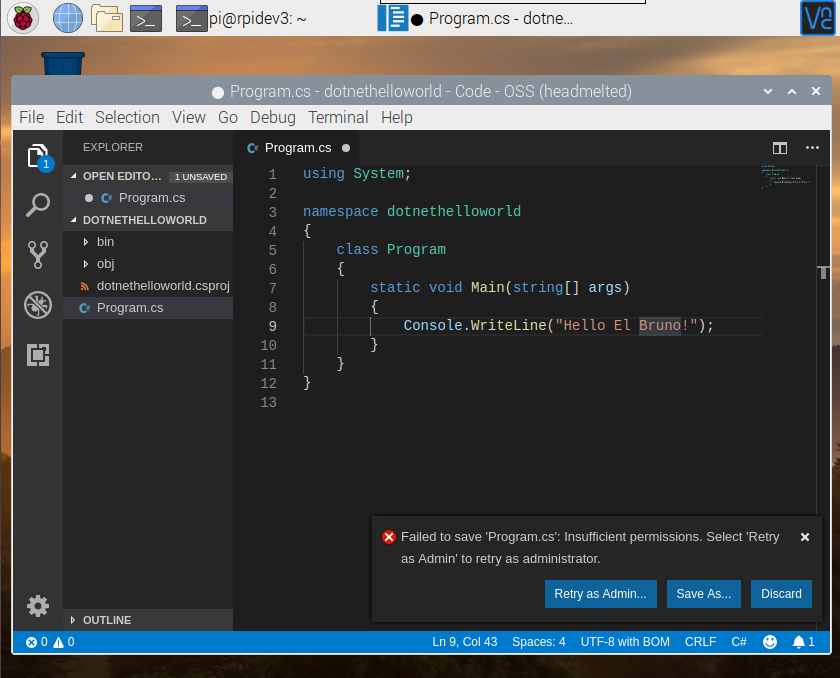 I raspberry pi 4 visual studio code failed to save file