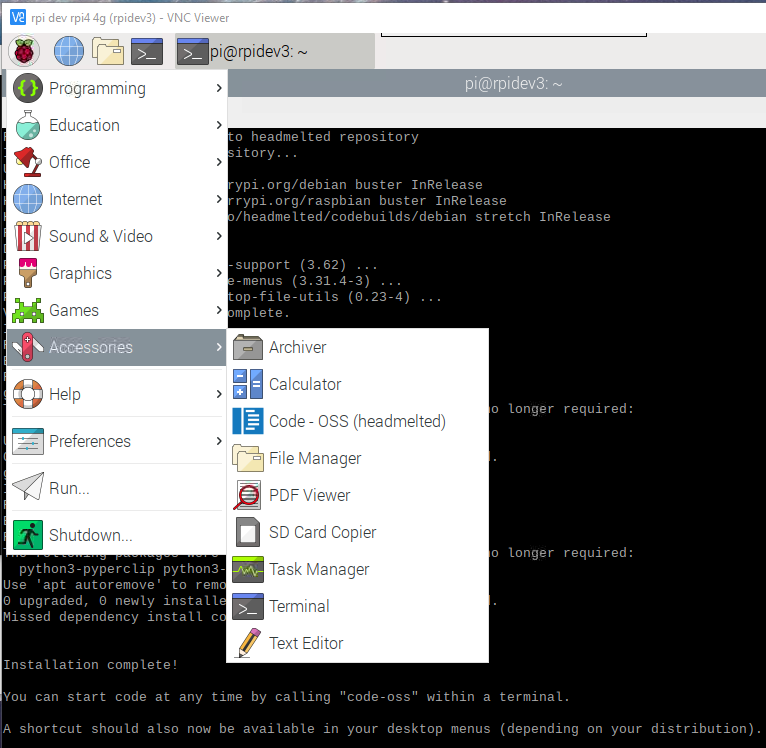 raspberry pi visual studio code installed