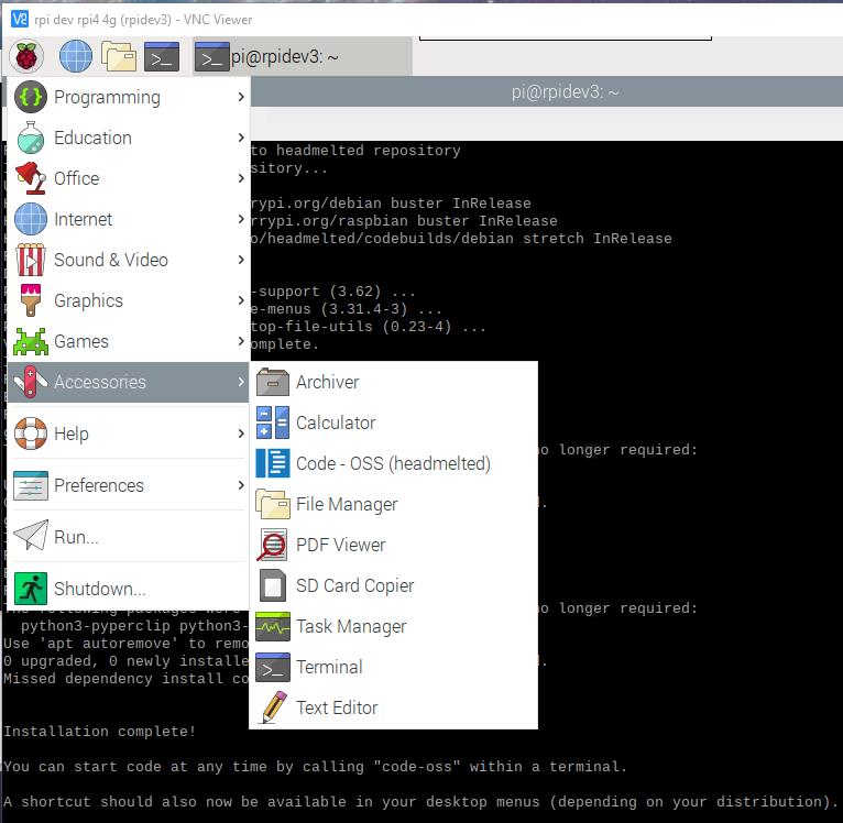 raspberry pi visual studio code installed