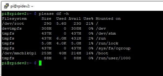 raspbery pi 4 using please instead of sudo display disk information