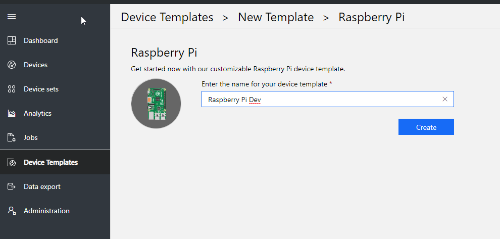 azure iot central create new device template raspberry pi dev