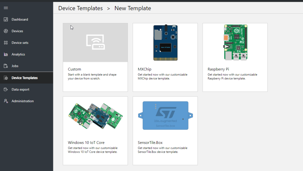 azure iot central create new device template