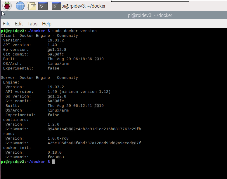 raspberry pi docker version in terminal