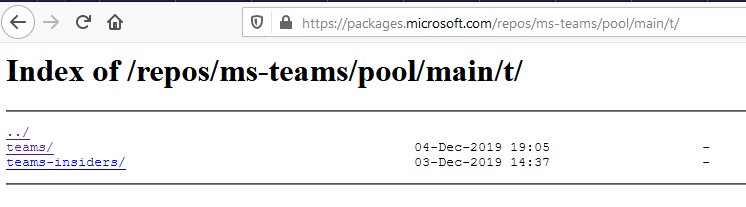 Microsoft package repository with release and insider version of MS Teams