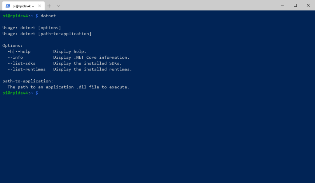 test dotnet command after install