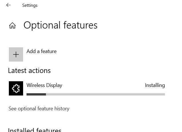 windows 10 installing wireless display