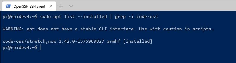 raspberry pi 4 apt list for code -oss return 1.42