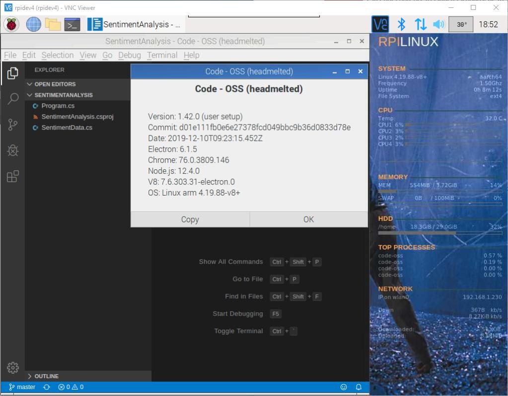 raspberry pi 4 visual studio code version 1.42 running fine