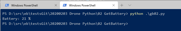 powershell console displaying the drone battery level.