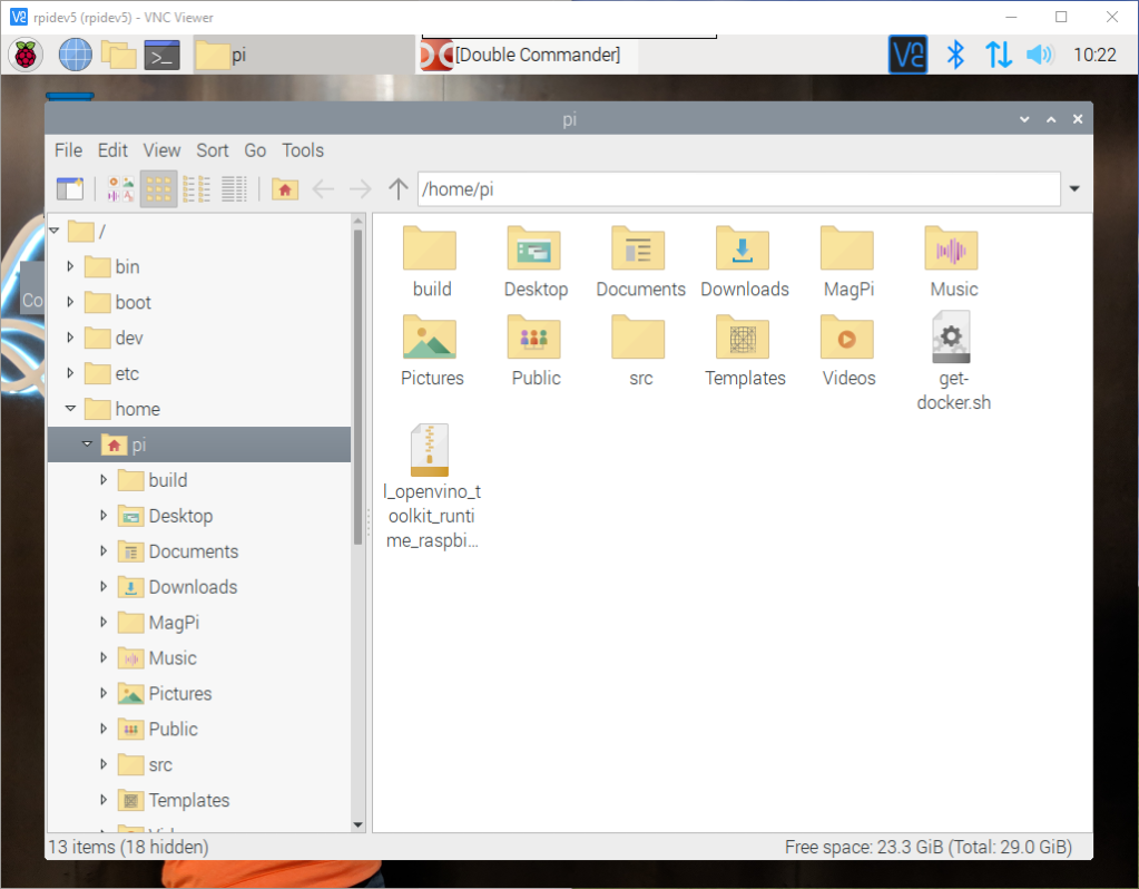 raspbian file manager before the update