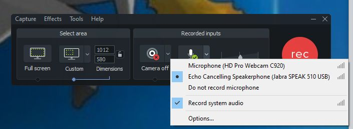 camtasia audio recording options quick