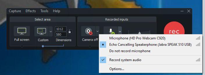 camtasia audio recording options quick