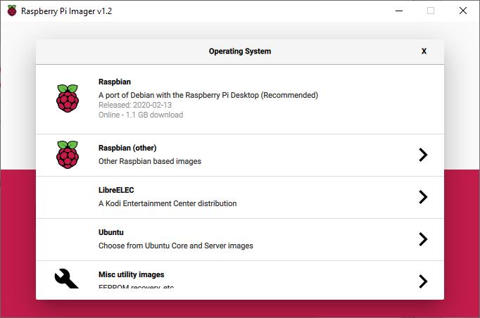 raspberry pi imager select Raspbian OS