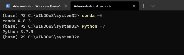default anaconda prompt in windows terminal