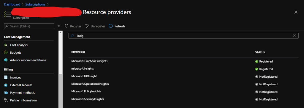 azure notifications displaying the monitoring microsoft insights issue