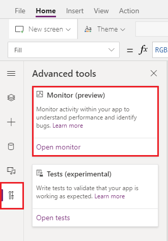power apps monitors start an monitor session in preview