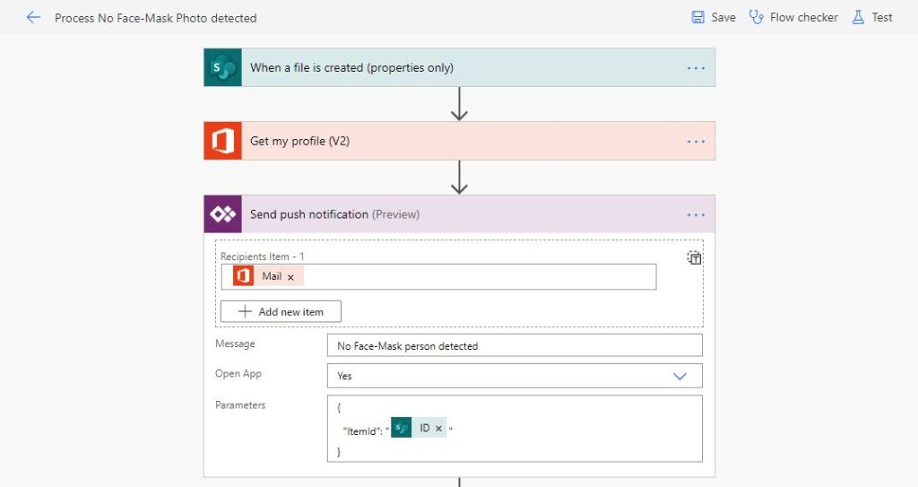 power automate demo flow using a Power App Push notification