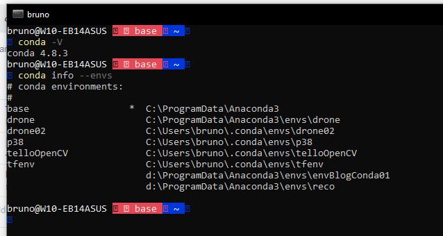 anaconda display version and virtual environments