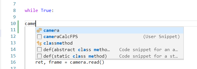 visual studio code custom code snippet available