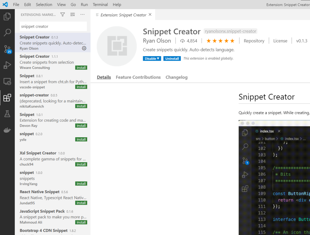 visual studio code snippet creator extension